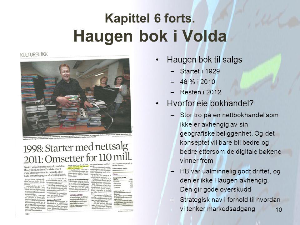 Kapittel 6 forts. Haugen bok i Volda Haugen bok til salgs –Startet i 1929 –46 % i 2010 –Resten i 2012 Hvorfor eie bokhandel? –Stor tro på en nettbokha