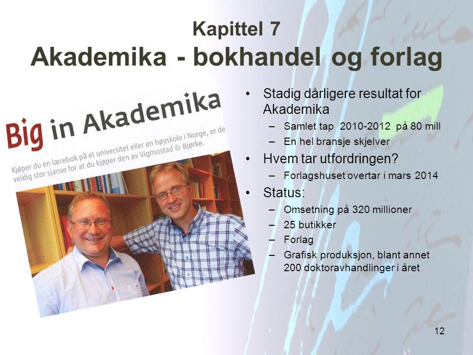 Kapittel 7 Akademika - bokhandel og forlag Stadig dårligere resultat for Akademika –Samlet tap 2010-2012 på 80 mill –En hel bransje skjelver Hvem tar
