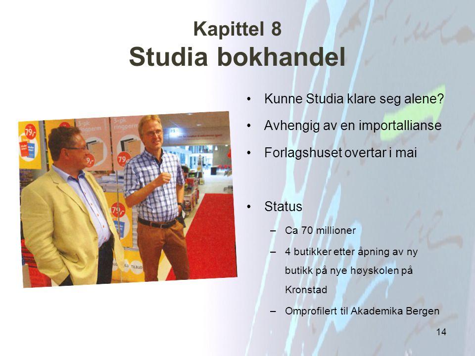Kapittel 8 Studia bokhandel Kunne Studia klare seg alene? Avhengig av en importallianse Forlagshuset overtar i mai Status –Ca 70 millioner –4 butikker