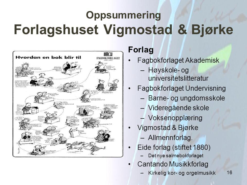 Oppsummering Forlagshuset Vigmostad & Bjørke 16 Forlag Fagbokforlaget Akademisk –Høyskole- og universitetslitteratur Fagbokforlaget Undervisning –Barn