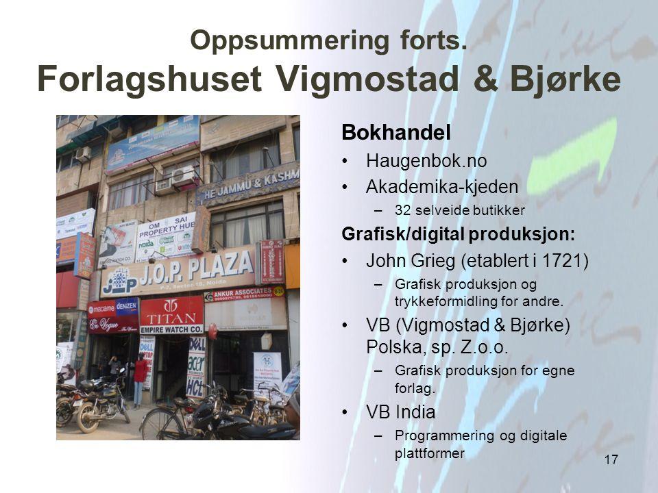 Oppsummering forts. Forlagshuset Vigmostad & Bjørke Bokhandel Haugenbok.no Akademika-kjeden –32 selveide butikker Grafisk/digital produksjon: John Gri