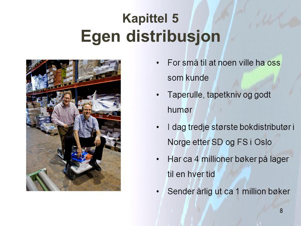 Kapittel 5 Egen distribusjon For små til at noen ville ha oss som kunde Taperulle, tapetkniv og godt humør I dag tredje største bokdistributør i Norge