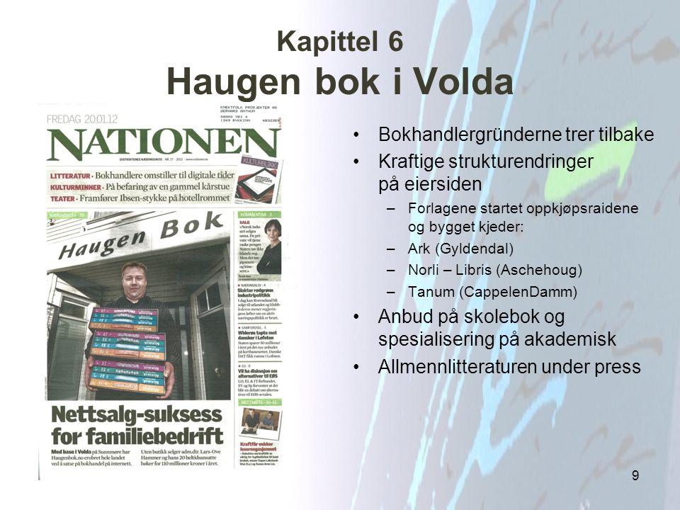 Kapittel 6 Haugen bok i Volda Bokhandlergründerne trer tilbake Kraftige strukturendringer på eiersiden –Forlagene startet oppkjøpsraidene og bygget kj