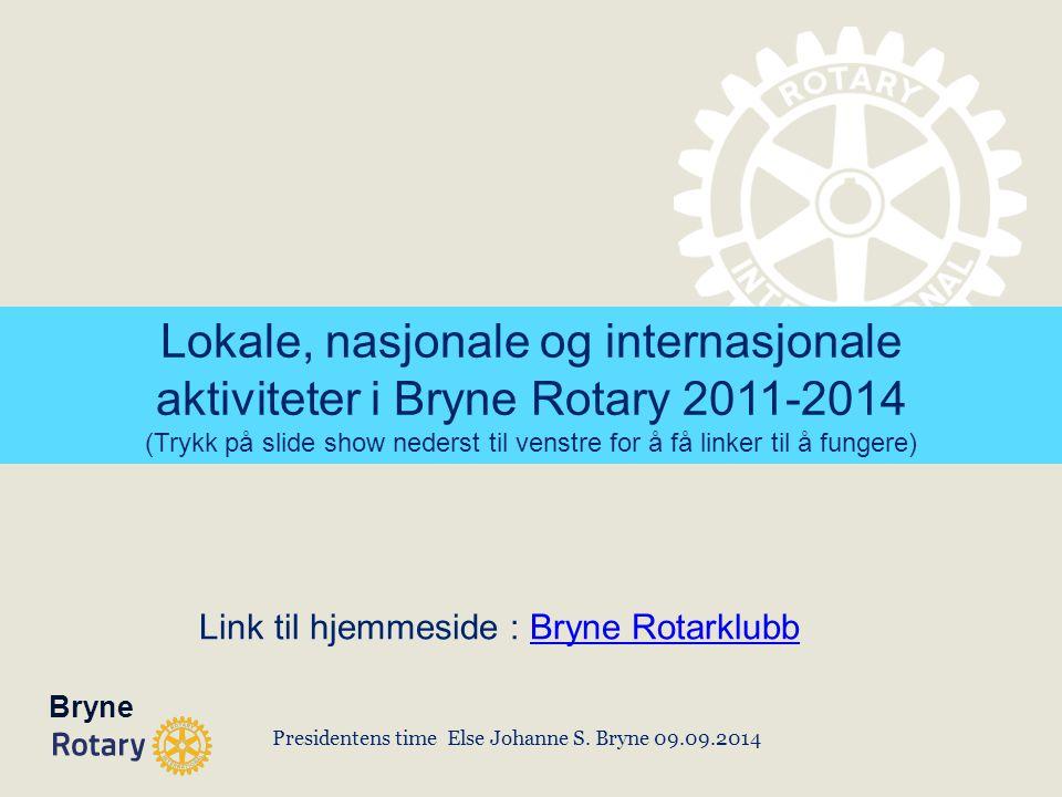 Presidentens time Else Johanne S. Bryne 09.09.2014 Link til hjemmeside : Bryne RotarklubbBryne Rotarklubb Bryne Lokale, nasjonale og internasjonale ak