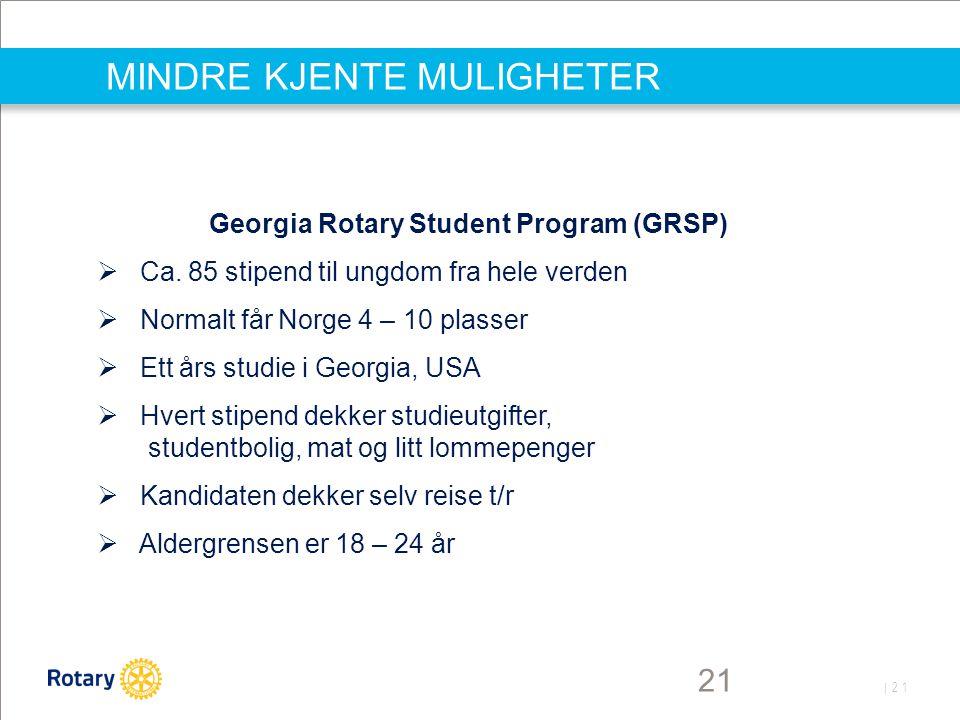 | 21 MINDRE KJENTE MULIGHETER 21 Georgia Rotary Student Program (GRSP)  Ca. 85 stipend til ungdom fra hele verden  Normalt får Norge 4 – 10 plasser