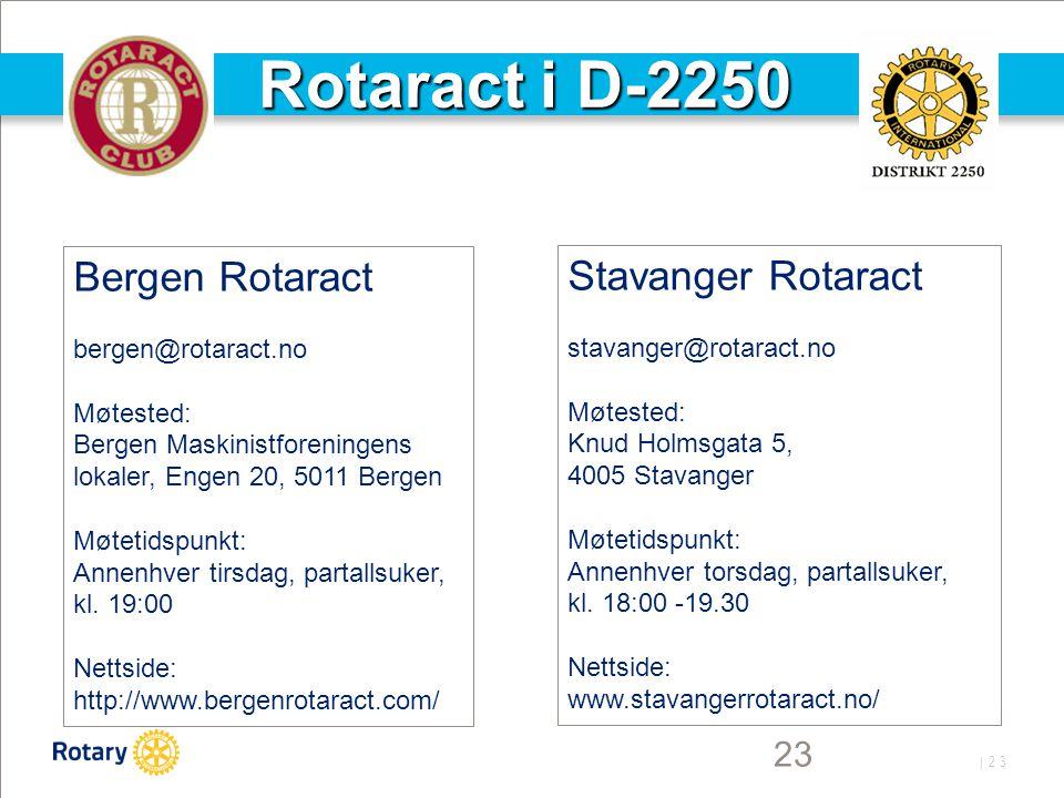 | 23 23 Rotaract i D-2250 Bergen Rotaract bergen@rotaract.no Møtested: Bergen Maskinistforeningens lokaler, Engen 20, 5011 Bergen Møtetidspunkt: Annen