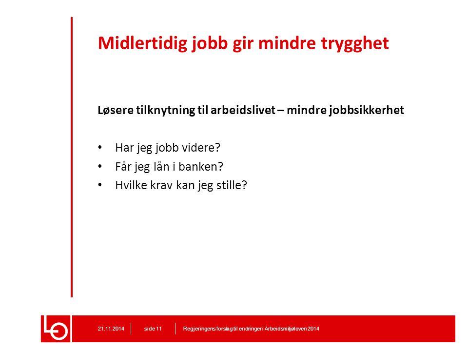 Midlertidig jobb gir mindre trygghet Løsere tilknytning til arbeidslivet – mindre jobbsikkerhet Har jeg jobb videre? Får jeg lån i banken? Hvilke krav