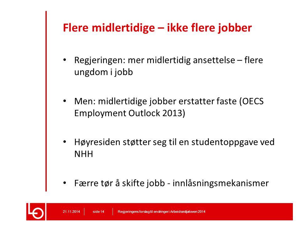 Flere midlertidige – ikke flere jobber Regjeringen: mer midlertidig ansettelse – flere ungdom i jobb Men: midlertidige jobber erstatter faste (OECS Em