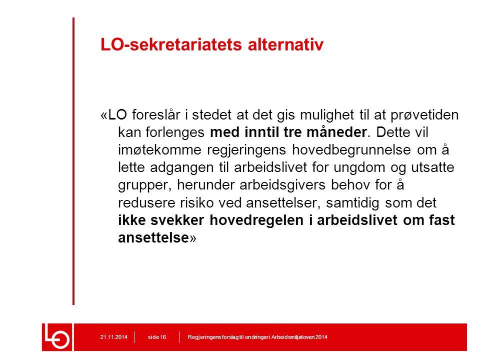 LO-sekretariatets alternativ «LO foreslår i stedet at det gis mulighet til at prøvetiden kan forlenges med inntil tre måneder. Dette vil imøtekomme re