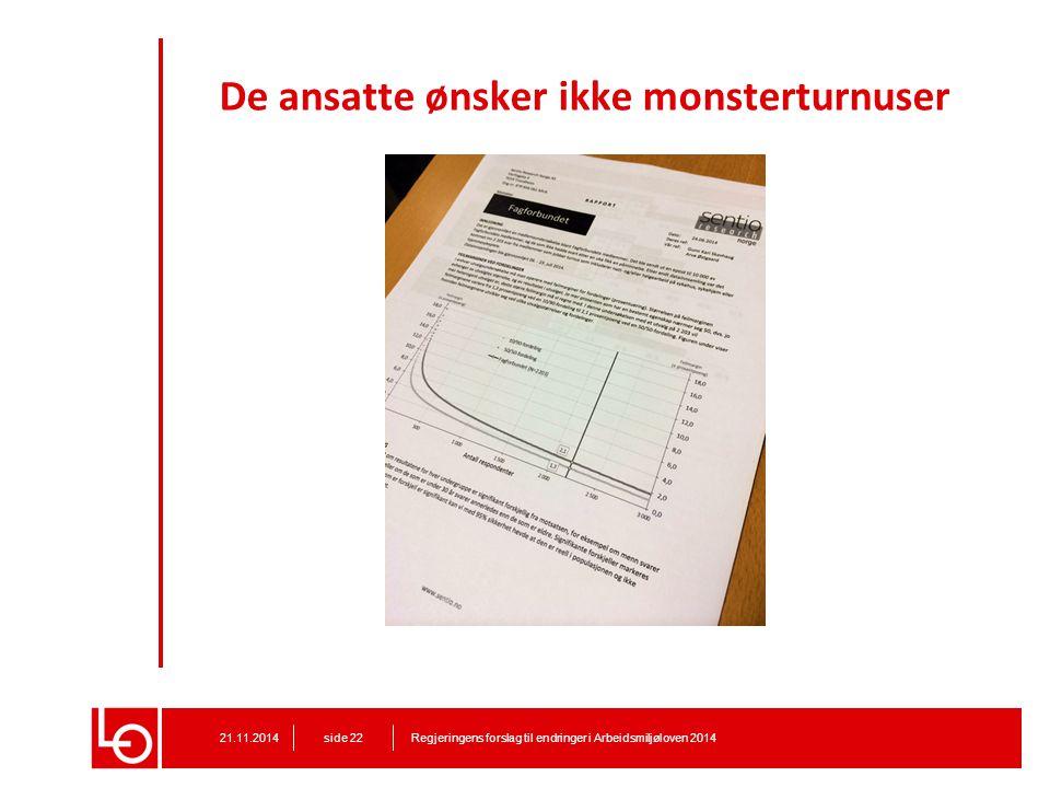 De ansatte ønsker ikke monsterturnuser Regjeringens forslag til endringer i Arbeidsmiljøloven 201421.11.2014 side 22