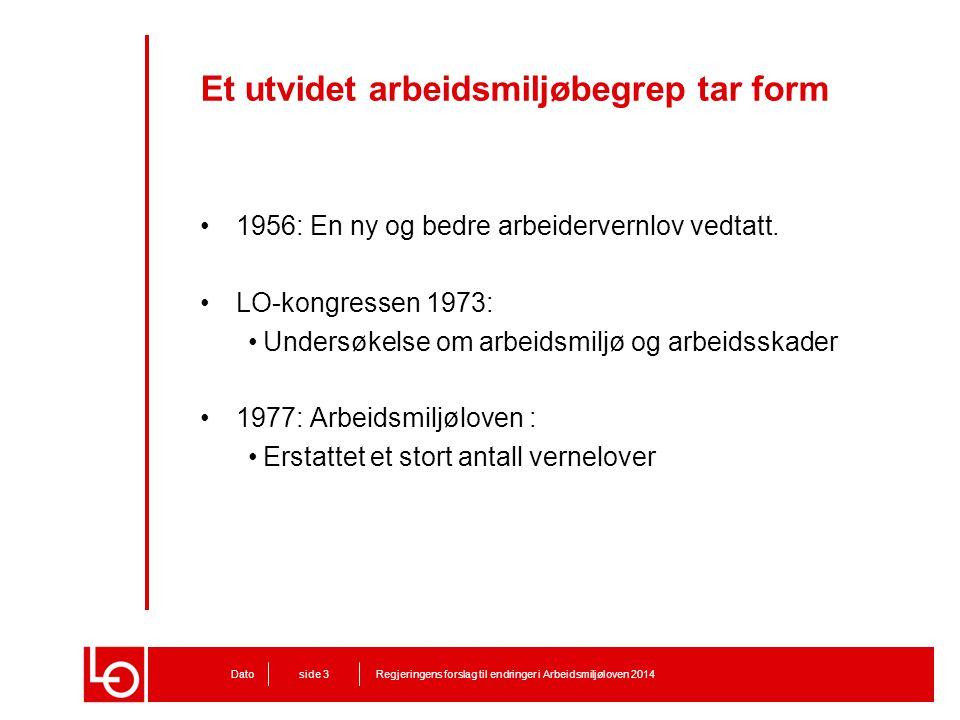 Et utvidet arbeidsmiljøbegrep tar form Regjeringens forslag til endringer i Arbeidsmiljøloven 2014Dato side 3 1956: En ny og bedre arbeidervernlov ved