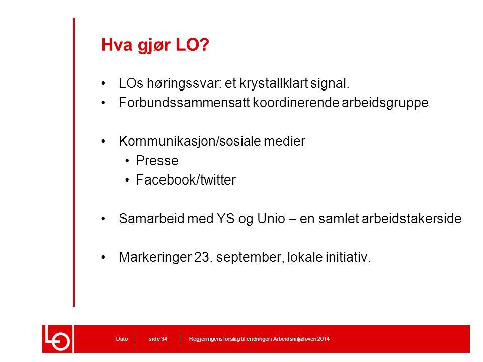 Hva gjør LO? LOs høringssvar: et krystallklart signal. Forbundssammensatt koordinerende arbeidsgruppe Kommunikasjon/sosiale medier Presse Facebook/twi