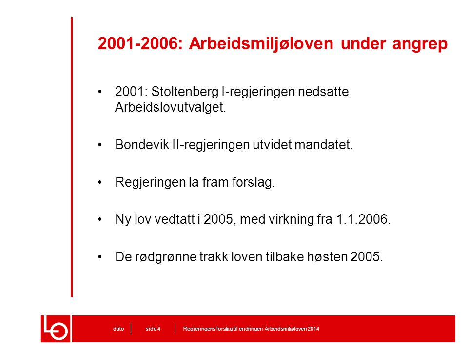 2001-2006: Arbeidsmiljøloven under angrep 2001: Stoltenberg I-regjeringen nedsatte Arbeidslovutvalget. Bondevik II-regjeringen utvidet mandatet. Regje