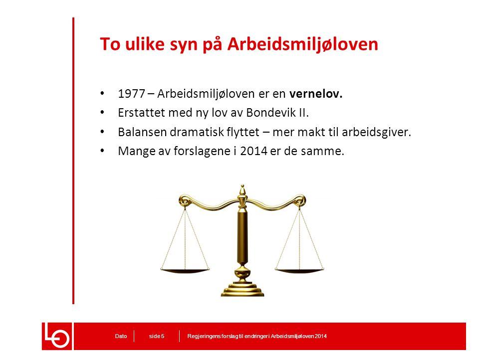 To ulike syn på Arbeidsmiljøloven 1977 – Arbeidsmiljøloven er en vernelov. Erstattet med ny lov av Bondevik II. Balansen dramatisk flyttet – mer makt