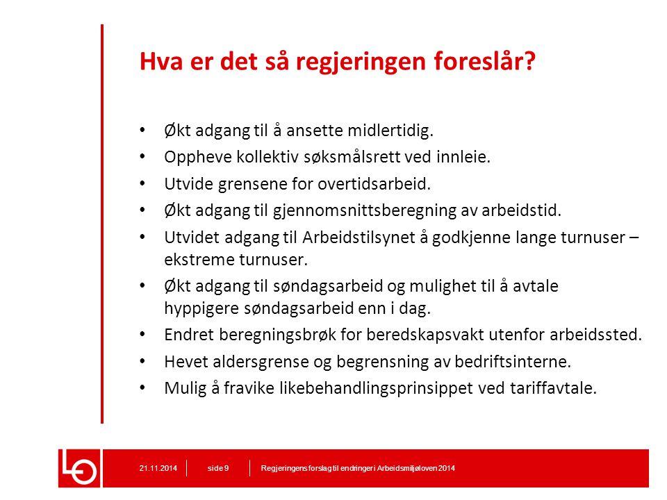 Midlertidige ansettelser Regjeringens forslag til endringer i Arbeidsmiljøloven 201421.11.2014 side 10