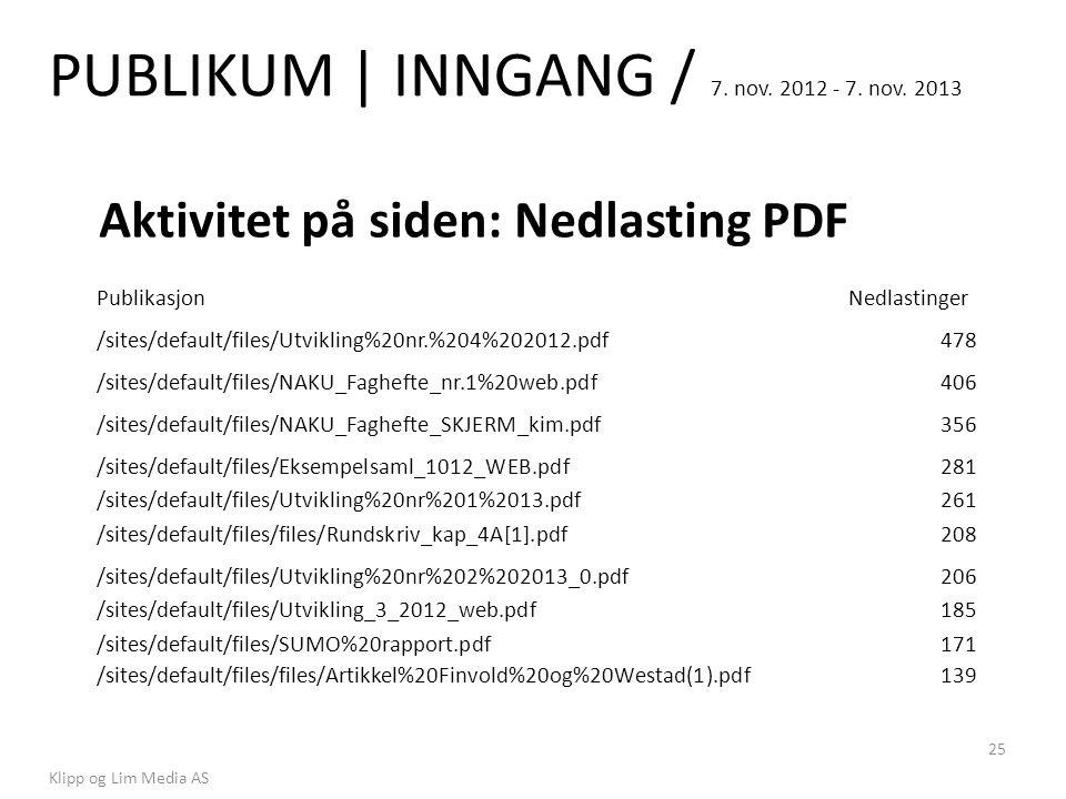 PUBLIKUM | INNGANG / 7. nov. 2012 - 7. nov. 2013 Klipp og Lim Media AS 25 Aktivitet på siden: Nedlasting PDF PublikasjonNedlastinger /sites/default/fi