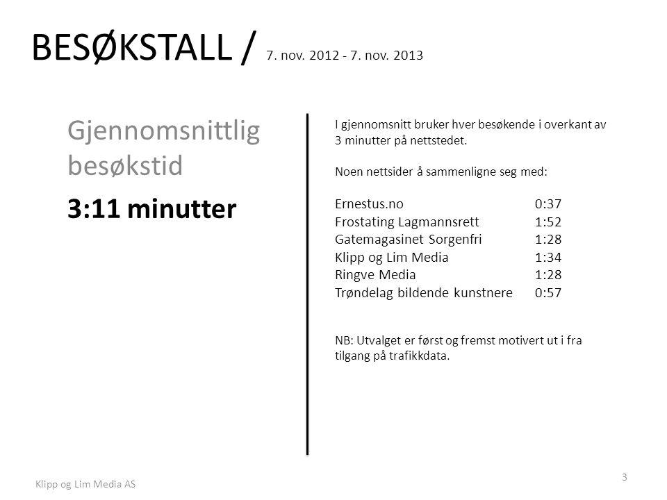 BESØKSTALL / 7. nov. 2012 - 7. nov. 2013 Gjennomsnittlig besøkstid 3:11 minutter I gjennomsnitt bruker hver besøkende i overkant av 3 minutter på nett