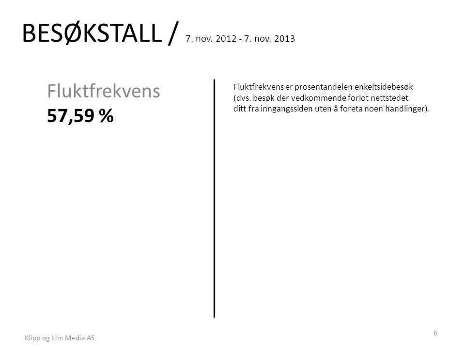 BESØKSTALL / 7. nov. 2012 - 7. nov. 2013 Fluktfrekvens 57,59 % Fluktfrekvens er prosentandelen enkeltsidebesøk (dvs. besøk der vedkommende forlot nett