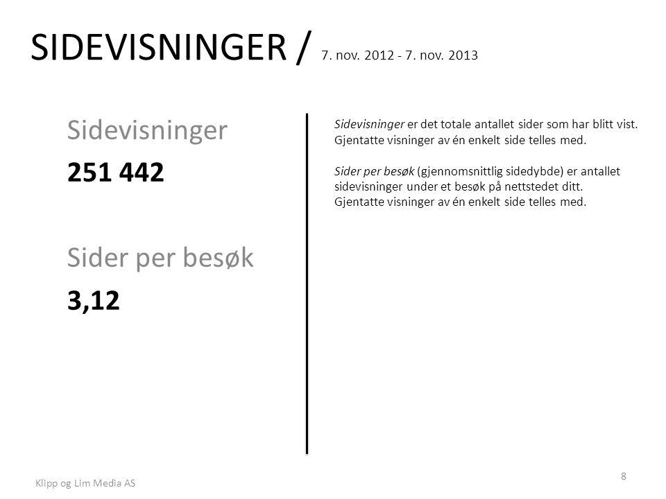 SIDEVISNINGER / 7. nov. 2012 - 7. nov. 2013 Sidevisninger 251 442 Sider per besøk 3,12 Sidevisninger er det totale antallet sider som har blitt vist.