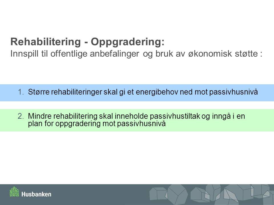 Rehabilitering - Oppgradering: Innspill til offentlige anbefalinger og bruk av økonomisk støtte : 1.Større rehabiliteringer skal gi et energibehov ned
