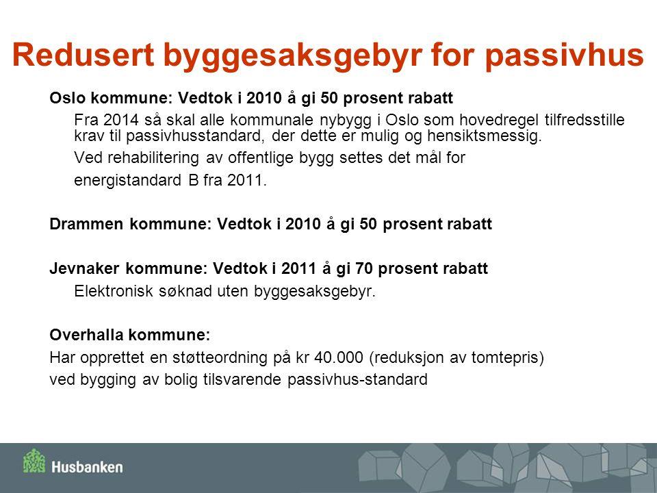 Redusert byggesaksgebyr for passivhus Oslo kommune: Vedtok i 2010 å gi 50 prosent rabatt Fra 2014 så skal alle kommunale nybygg i Oslo som hovedregel