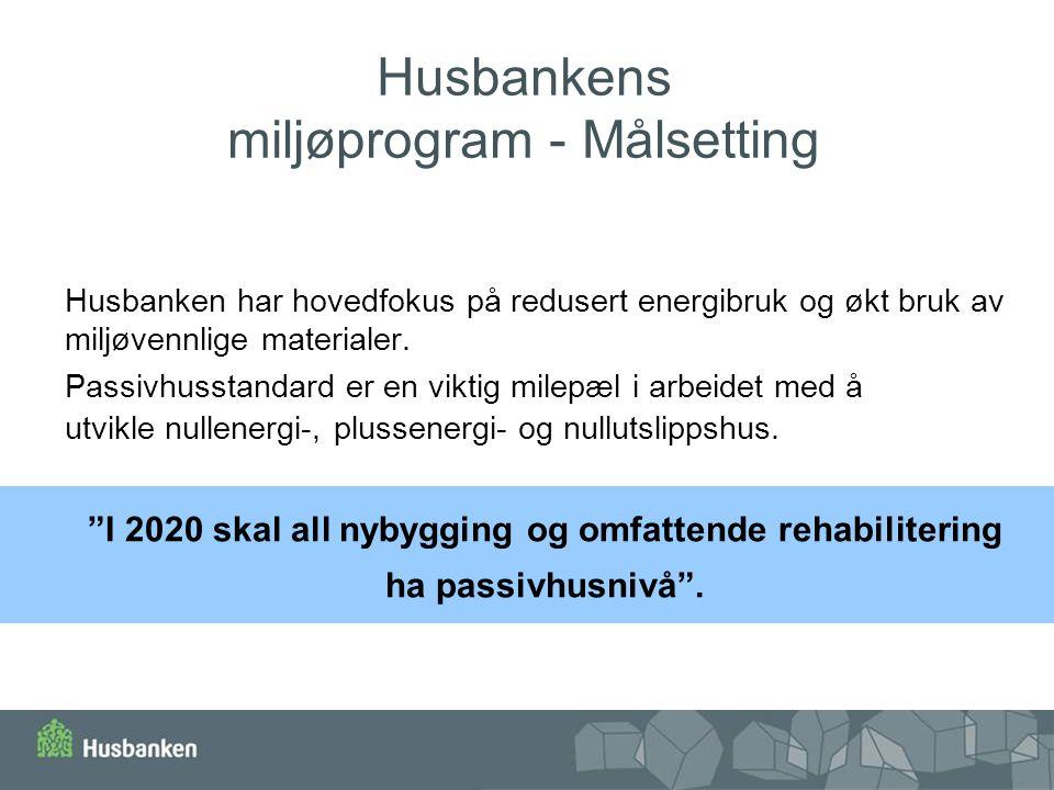 Husbankens miljøprogram - Målsetting Husbanken har hovedfokus på redusert energibruk og økt bruk av miljøvennlige materialer. Passivhusstandard er en
