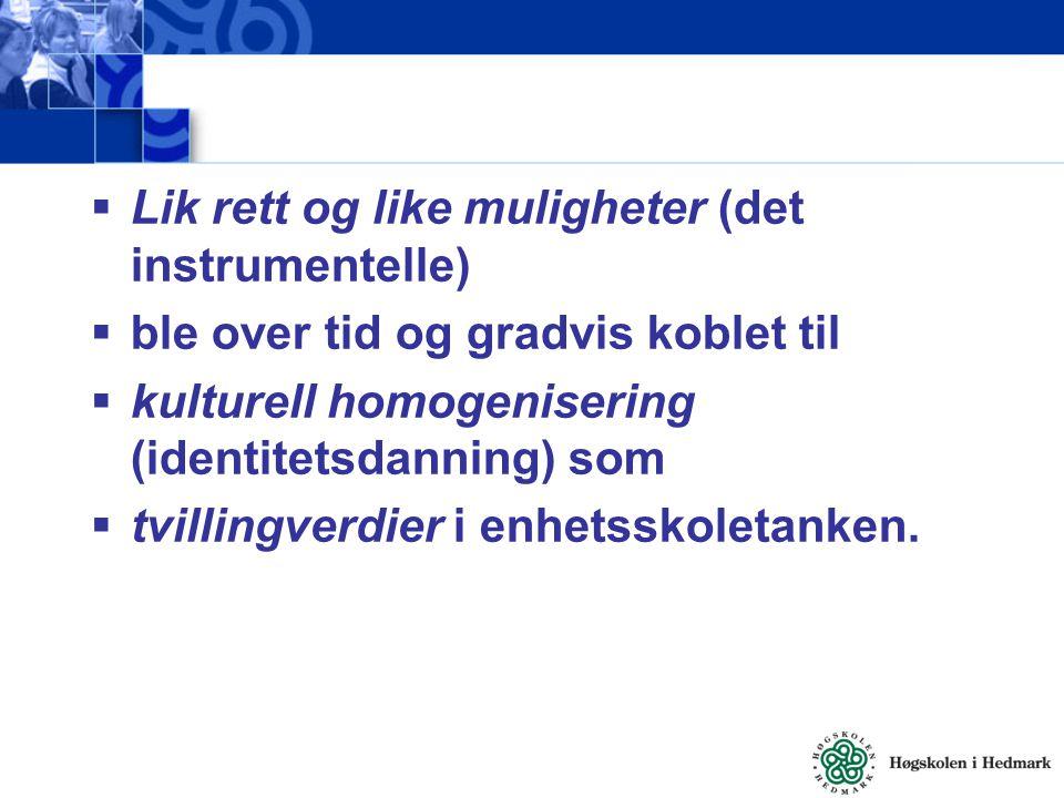  Lik rett og like muligheter (det instrumentelle)  ble over tid og gradvis koblet til  kulturell homogenisering (identitetsdanning) som  tvillingv