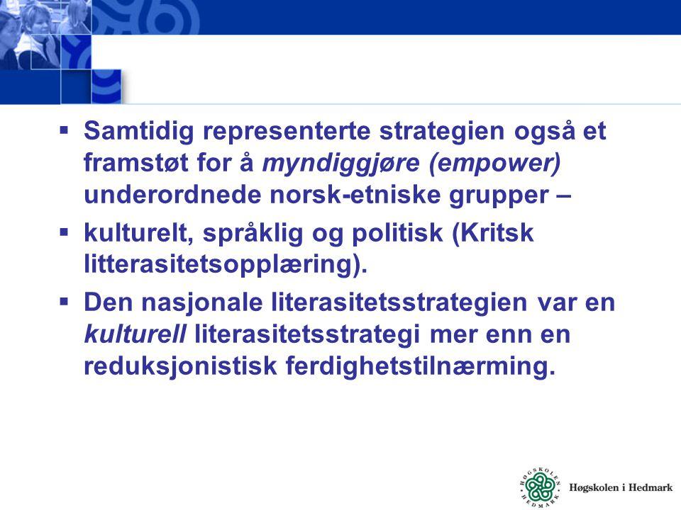  Samtidig representerte strategien også et framstøt for å myndiggjøre (empower) underordnede norsk-etniske grupper –  kulturelt, språklig og politis