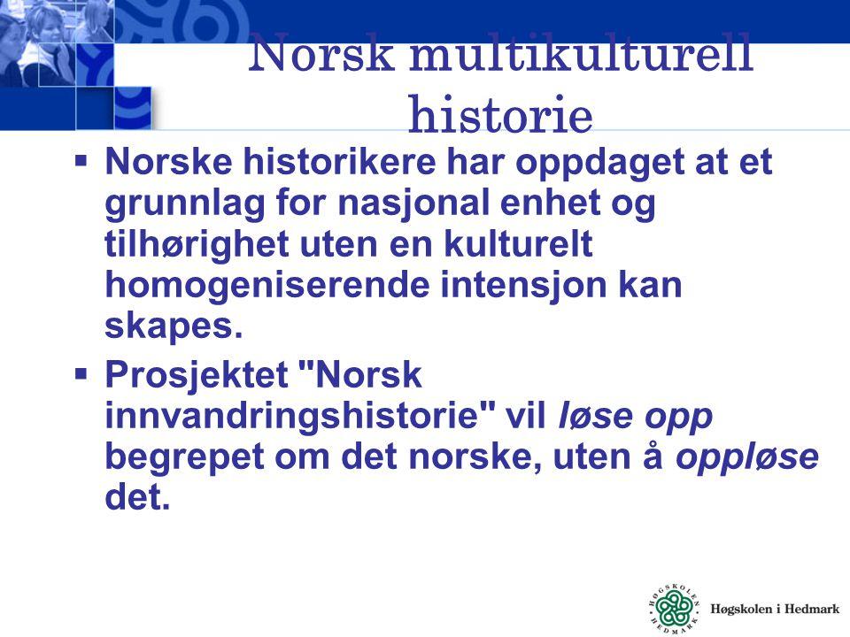 Norsk multikulturell historie  Norske historikere har oppdaget at et grunnlag for nasjonal enhet og tilhørighet uten en kulturelt homogeniserende int