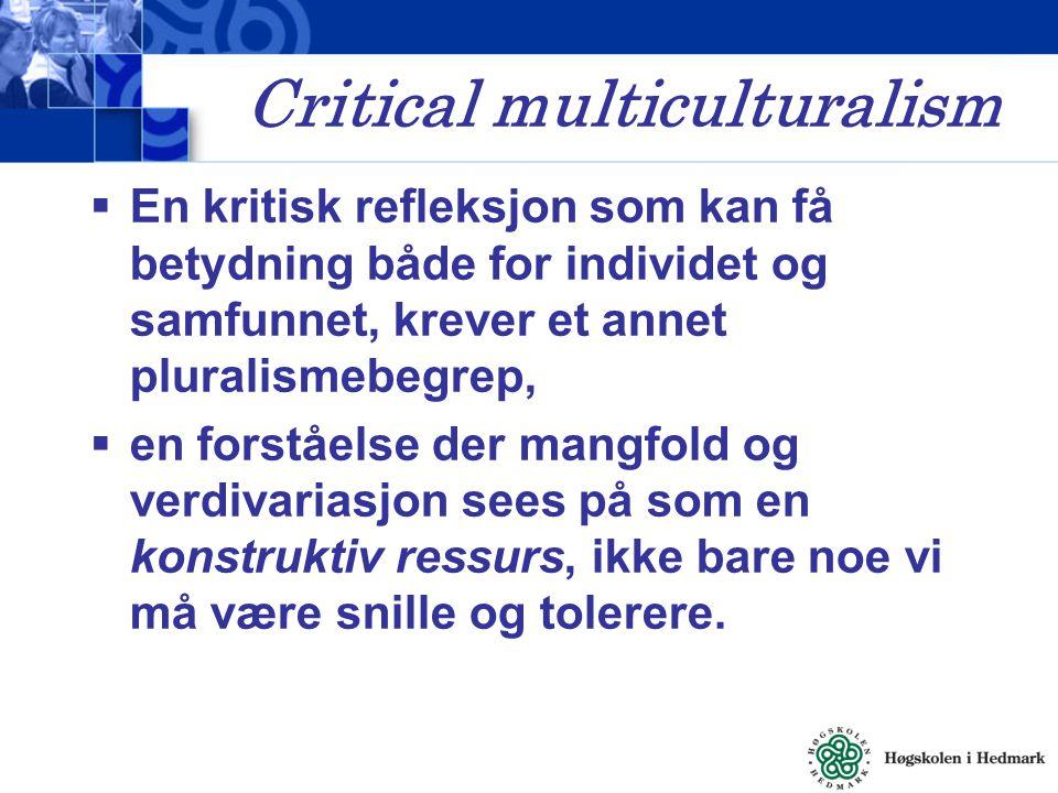 Critical multiculturalism  En kritisk refleksjon som kan få betydning både for individet og samfunnet, krever et annet pluralismebegrep,  en forståe