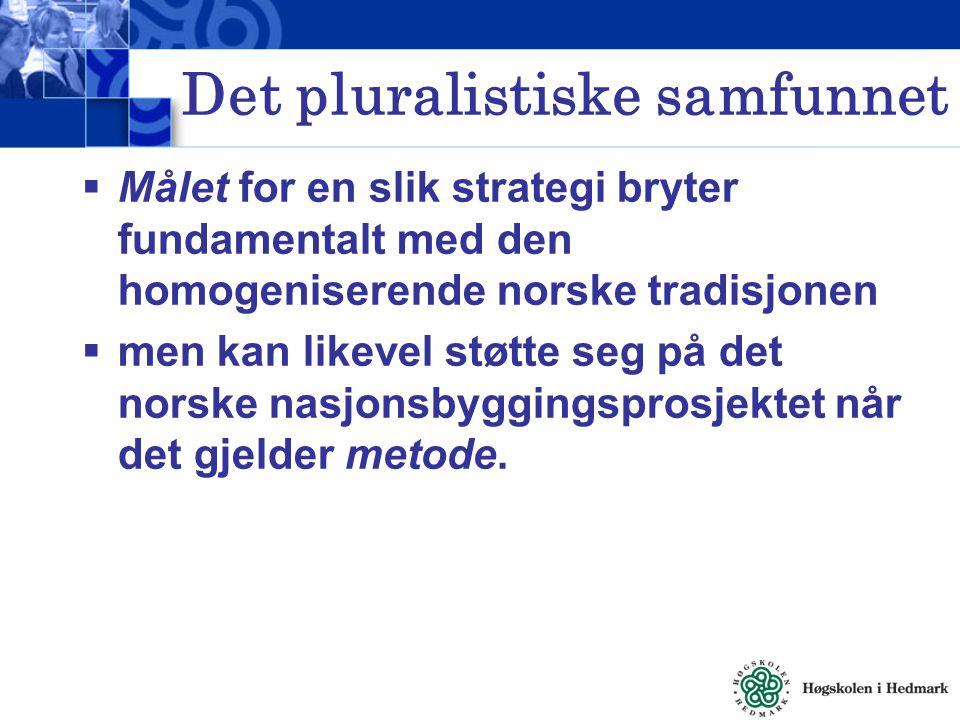 Det pluralistiske samfunnet  Målet for en slik strategi bryter fundamentalt med den homogeniserende norske tradisjonen  men kan likevel støtte seg p