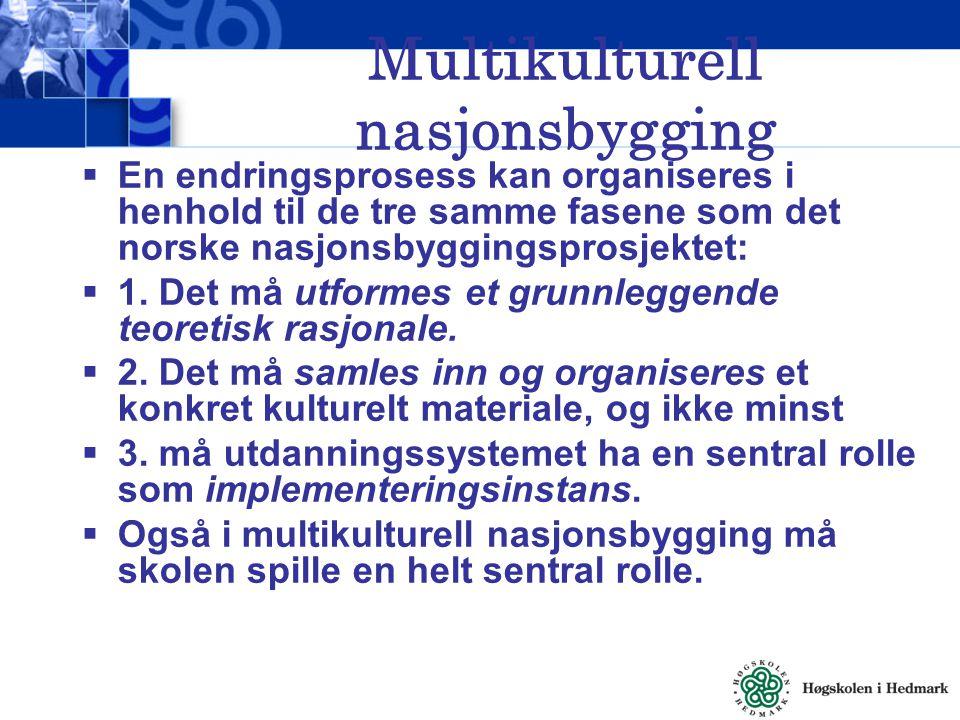 Multikulturell nasjonsbygging  En endringsprosess kan organiseres i henhold til de tre samme fasene som det norske nasjonsbyggingsprosjektet:  1. De