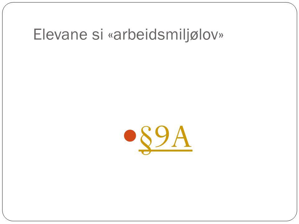 Elevane si «arbeidsmiljølov» §9A