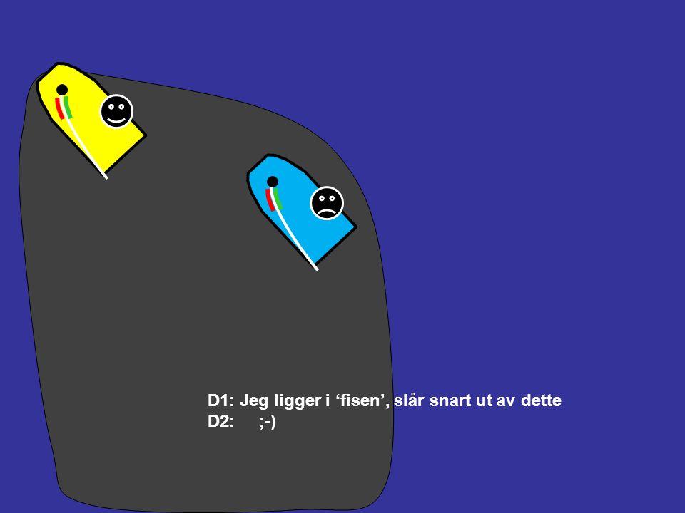 Vind D1: Styrbord, jeg har rett på veien D2: Babord, jeg må holde av veien D1: Jeg holder kursen D2: Jeg slår D1: Du holdt av veien (Hvis protest, grø
