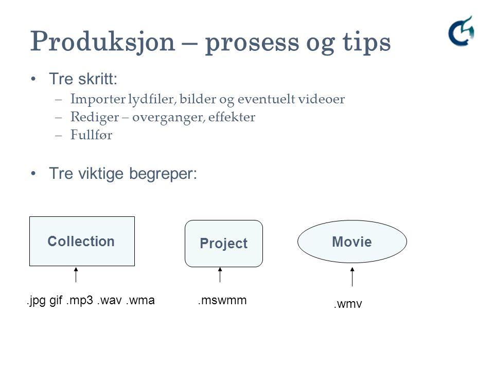 Produksjon – prosess og tips Tre skritt: –Importer lydfiler, bilder og eventuelt videoer –Rediger – overganger, effekter –Fullfør Tre viktige begreper: Project Movie Collection.jpg gif.mp3.wav.wma.mswmm.wmv