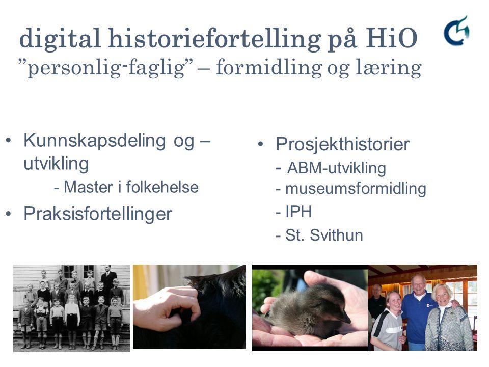 Kunnskapsdeling og – utvikling - Master i folkehelse Praksisfortellinger Prosjekthistorier - ABM-utvikling - museumsformidling - IPH - St. Svithun ele