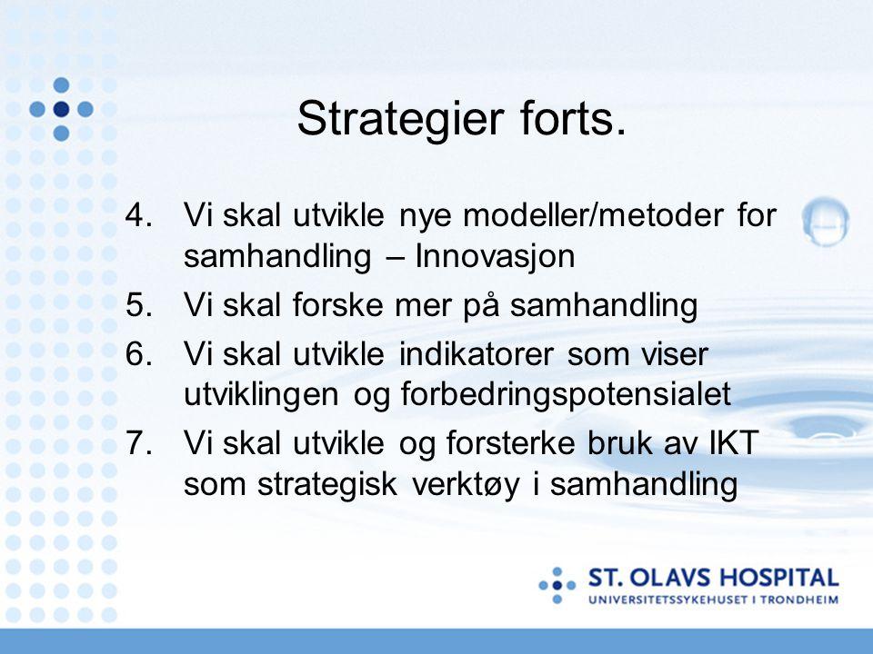 Strategier forts. 4.Vi skal utvikle nye modeller/metoder for samhandling – Innovasjon 5.Vi skal forske mer på samhandling 6.Vi skal utvikle indikatore