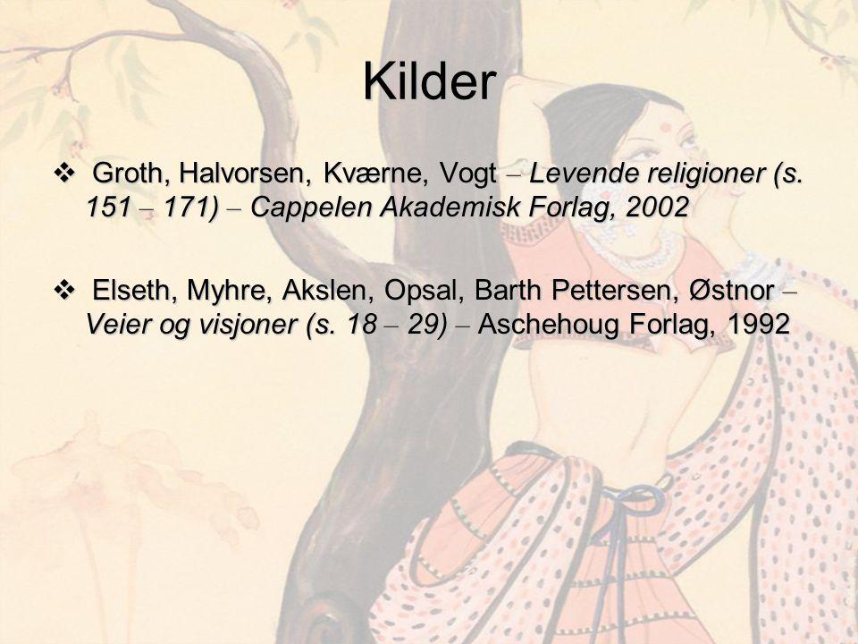 Kilder  Groth, Halvorsen, Kværne, Vogt – Levende religioner (s. 151 – 171) – Cappelen Akademisk Forlag, 2002  Elseth, Myhre, Akslen, Opsal, Barth Pe