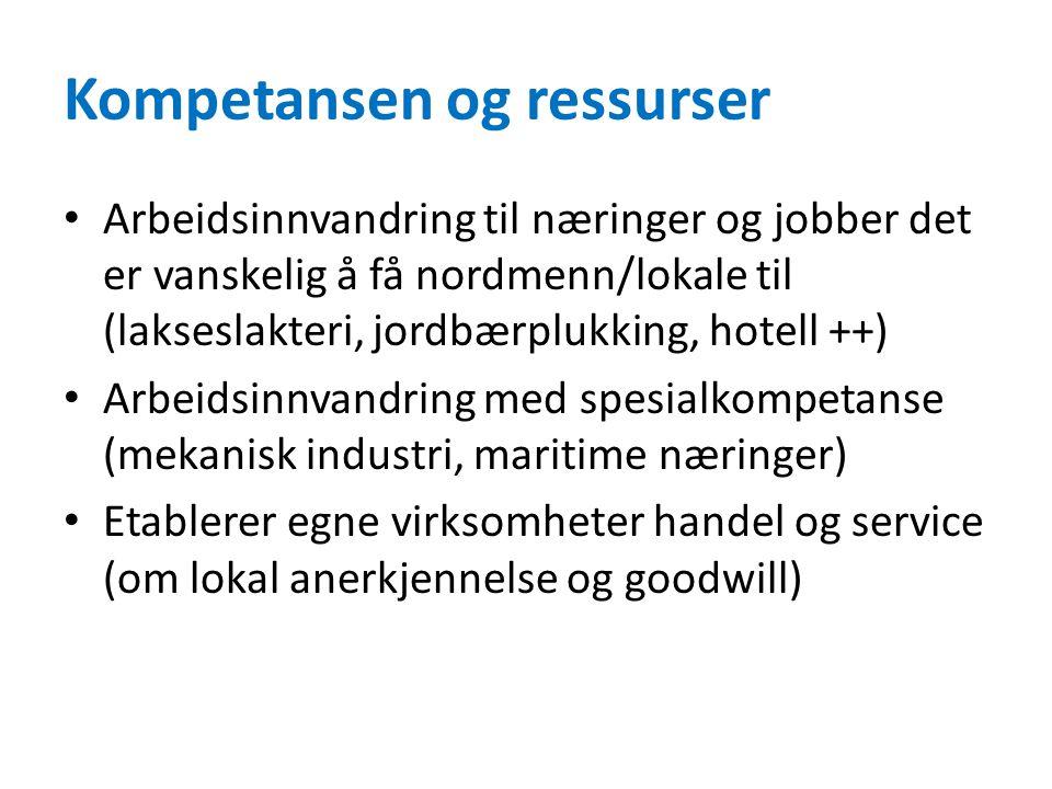 Kompetansen og ressurser Arbeidsinnvandring til næringer og jobber det er vanskelig å få nordmenn/lokale til (lakseslakteri, jordbærplukking, hotell ++) Arbeidsinnvandring med spesialkompetanse (mekanisk industri, maritime næringer) Etablerer egne virksomheter handel og service (om lokal anerkjennelse og goodwill)