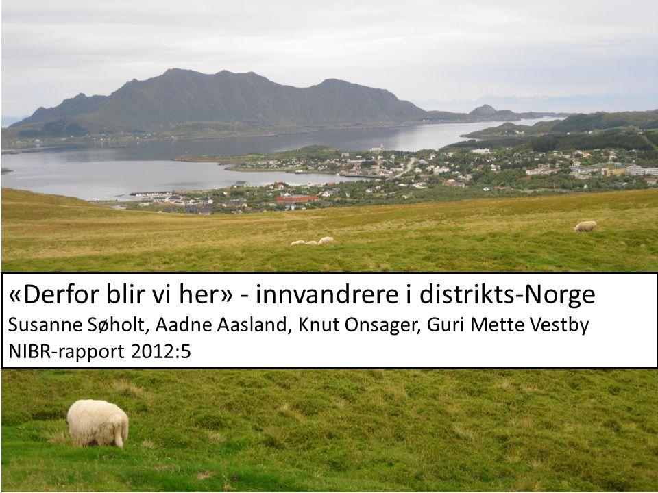«Derfor blir vi her» - innvandrere i distrikts-Norge Susanne Søholt, Aadne Aasland, Knut Onsager, Guri Mette Vestby NIBR-rapport 2012:5