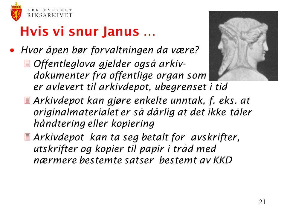 21 Hvis vi snur Janus …  Hvor åpen bør forvaltningen da være? 3Offentleglova gjelder også arkiv- dokumenter fra offentlige organ som er avlevert til