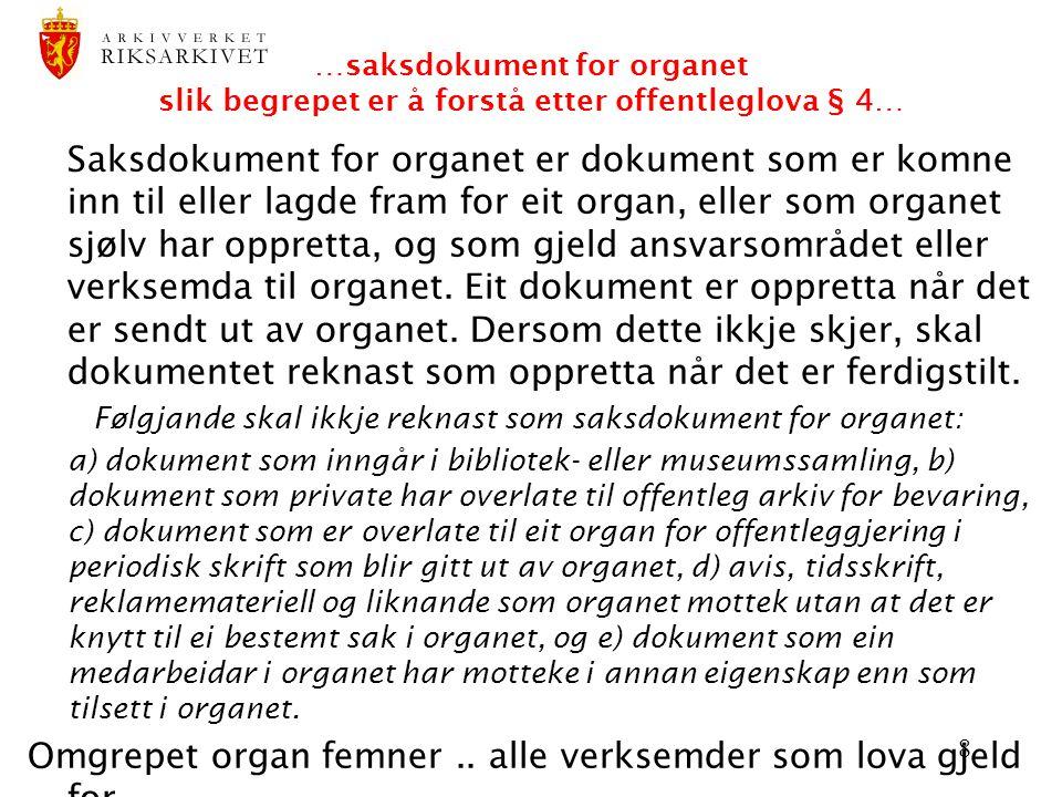 8 …saksdokument for organet slik begrepet er å forstå etter offentleglova § 4… Saksdokument for organet er dokument som er komne inn til eller lagde f