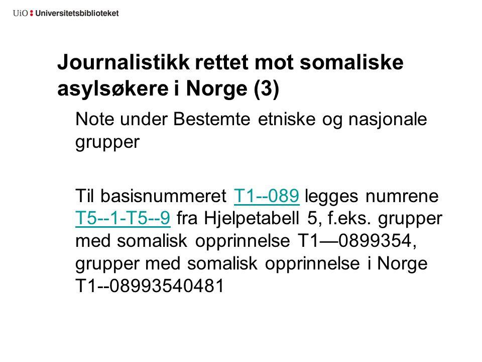 Journalistikk rettet mot somaliske asylsøkere i Norge (3) Note under Bestemte etniske og nasjonale grupper Til basisnummeret T1--089 legges numrene T5