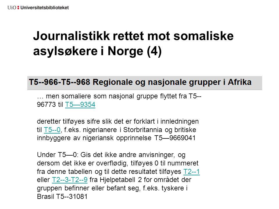 Journalistikk rettet mot somaliske asylsøkere i Norge (4) … men somaliere som nasjonal gruppe flyttet fra T5-- 96773 til T5—9354T5—9354 deretter tilfø