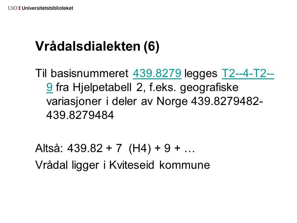 Vrådalsdialekten (6) Til basisnummeret 439.8279 legges T2--4-T2-- 9 fra Hjelpetabell 2, f.eks. geografiske variasjoner i deler av Norge 439.8279482- 4