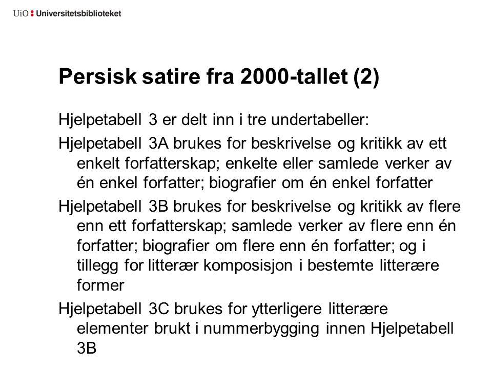 Persisk satire fra 2000-tallet (2) Hjelpetabell 3 er delt inn i tre undertabeller: Hjelpetabell 3A brukes for beskrivelse og kritikk av ett enkelt for