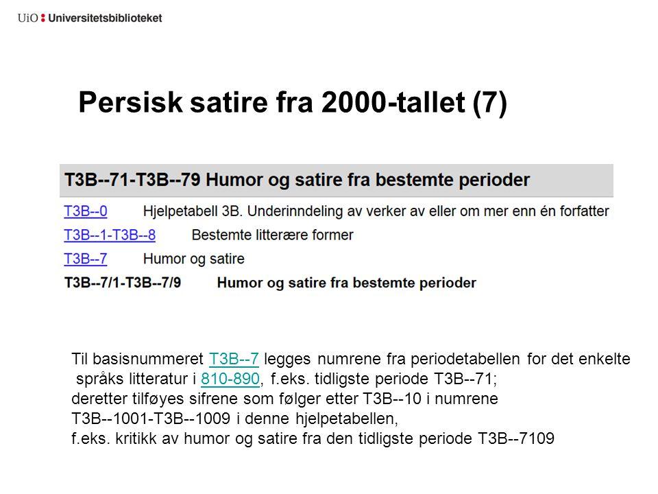 Persisk satire fra 2000-tallet (7) Til basisnummeret T3B--7 legges numrene fra periodetabellen for det enkelteT3B--7 språks litteratur i 810-890, f.ek