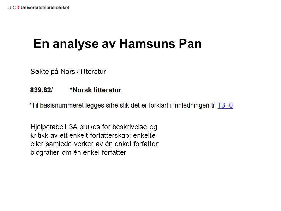En analyse av Hamsuns Pan Søkte på Norsk litteratur Hjelpetabell 3A brukes for beskrivelse og kritikk av ett enkelt forfatterskap; enkelte eller samle