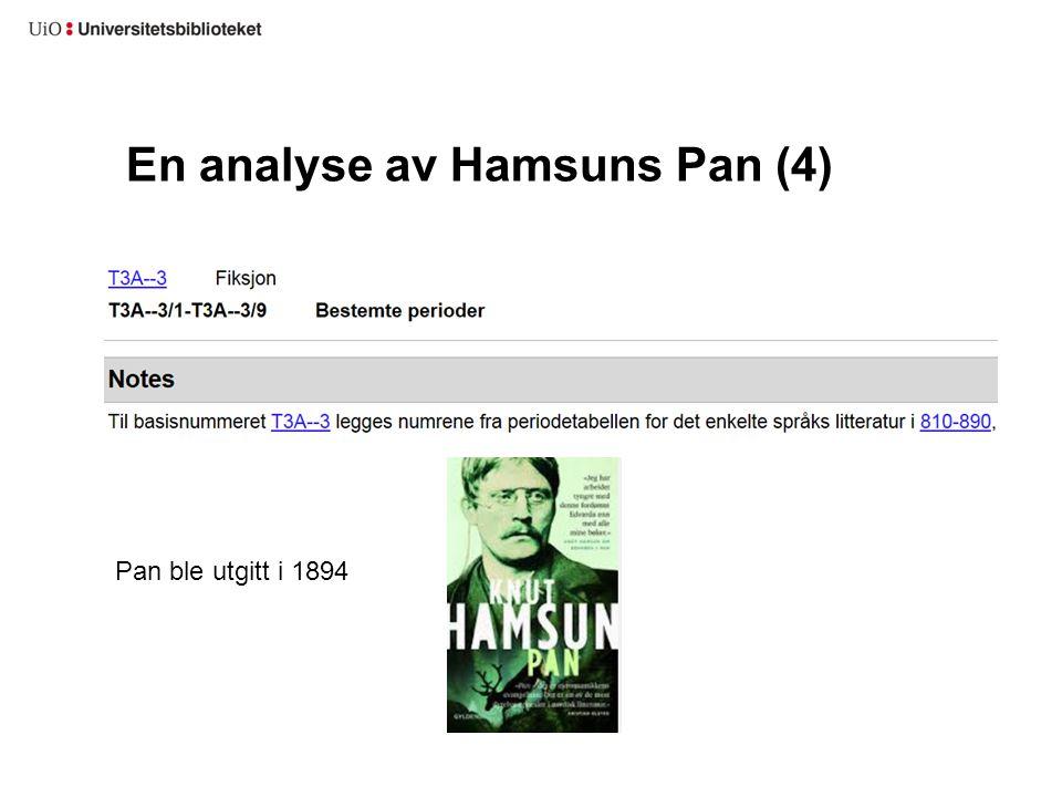 En analyse av Hamsuns Pan (4) Pan ble utgitt i 1894