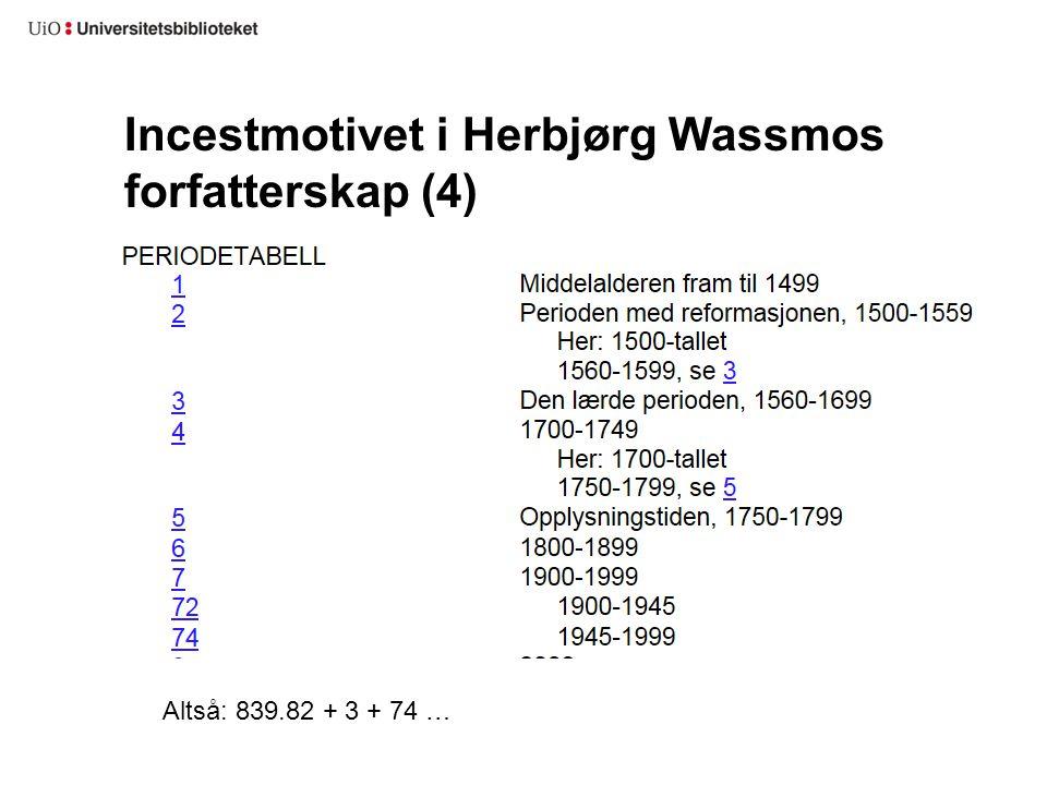 Incestmotivet i Herbjørg Wassmos forfatterskap (4) Altså: 839.82 + 3 + 74 …
